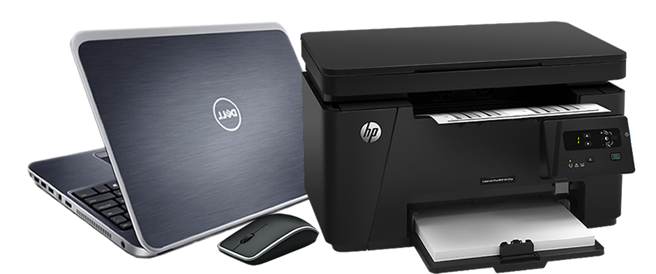 dell-laptop-hp-printer-and-mouse